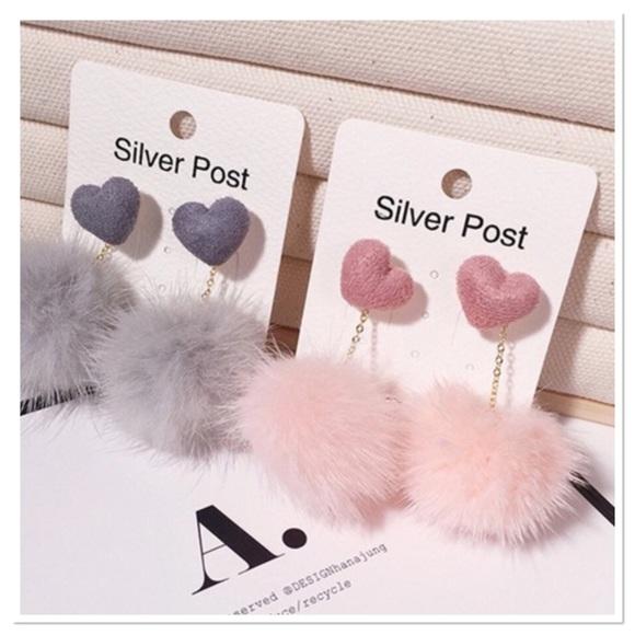Jewelry - Pink Heart Pom Pom Dangle Earrings